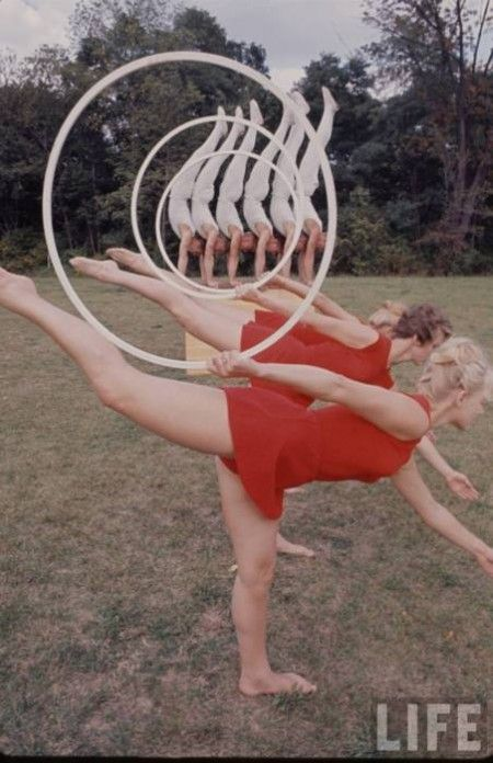 hula hoops and gymnasts.