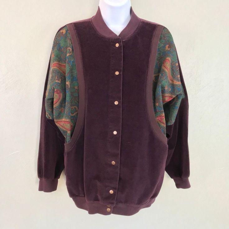 SK Sport Women's Jacket Vintage Velour Purple Button Front Closure Deep Pocket  #SKSport #Vintage
