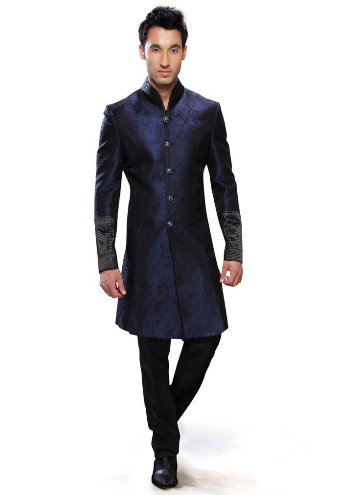 Regal Blue Art Silk Sherwani : Cbazaar