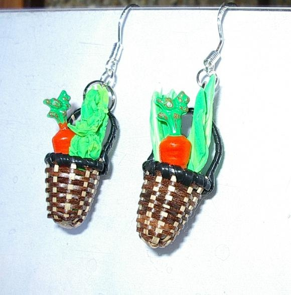 Cute! Market Basket Veggie Earrings. $15.00, via Etsy.