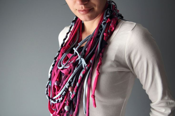 Infinity SCARF NECKLACE in purple, hot pink and sky blue with cotton beads. $20.00, via Etsy.