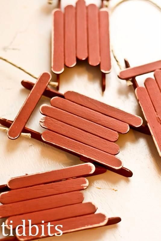 popsicle sticks sled ornaments
