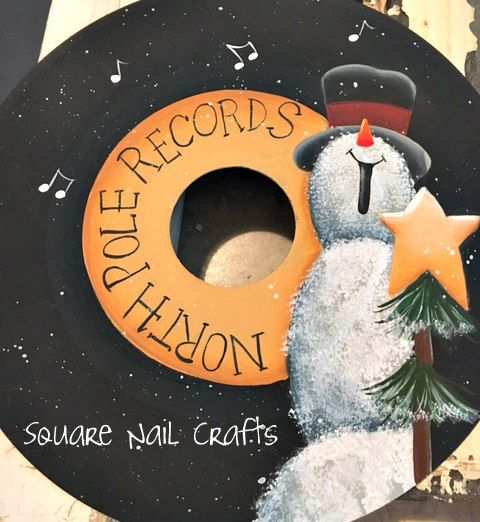 Hand painted by Square Nail Crafts. 45 record inspired by cute designs by Chris Thornton and Prudy Vannier. www.facebook.com/squarenailcrafts