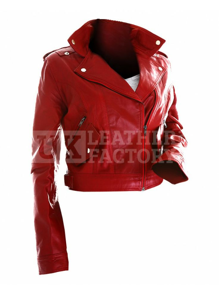 Cheaply Priced@£144--Smart and ravishing like Heidi Klum, pure leather motorbike jacket for ladies is multi-purpose and shiny blood-red. Big noticeable lapel and diagonal zip. Lifetime durable longlasting value for money.