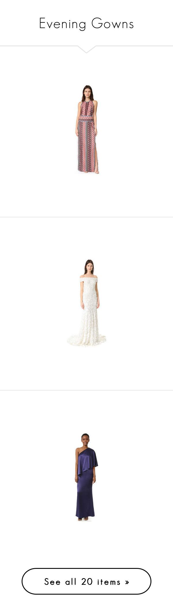 """Evening Gowns"" by modalist ❤ liked on Polyvore featuring dresses, gowns, print dress, sparkly evening gowns, crochet gown, slit gown, red dress, white gown, beaded evening gowns and graduation gown"