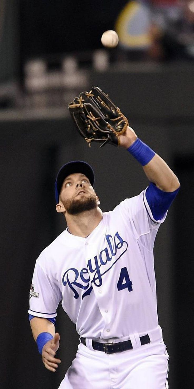 Kansas City Royals left fielder Alex Gordon catches a pop fly hit by Toronto Blue Jays first baseman Chris Colabello in the second inning during Friday's ALCS baseball game on October 23, 2015 at Kauffman Stadium in Kansas City, Mo.