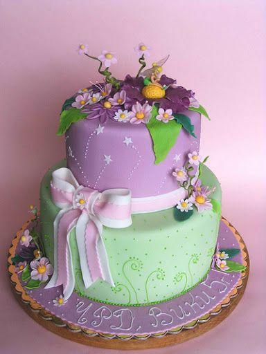 Mint green & purple flower cake