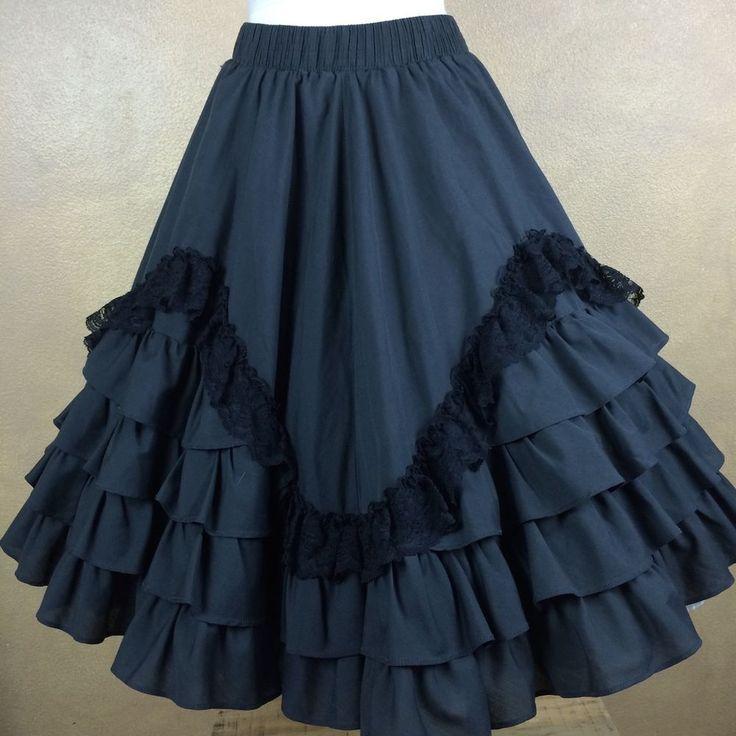 Vintage Partners Please Malco Modes Ruffled Lace Embellished Square Dance Skirt #MalcoModes