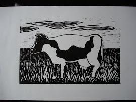 linosnede koe zwart wit