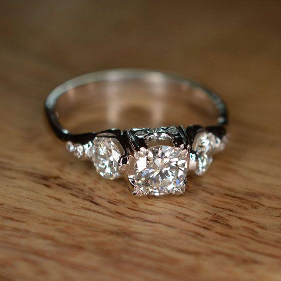 Modern Floating Diamond Engagement Ring 18k White Gold by JdotC, $1500.00