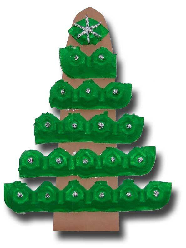 Voor de kleintjes- kerstboom gemaakt van eierdozen
