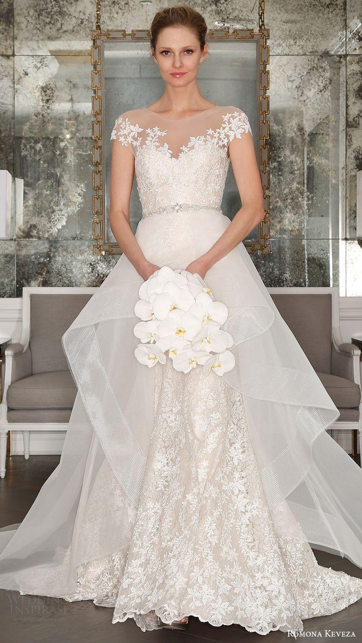 romona keveza bridal spring 2017 illusion cap sleeves trumpet wedding dres (rk7407) mv optional sheer aline overskirt