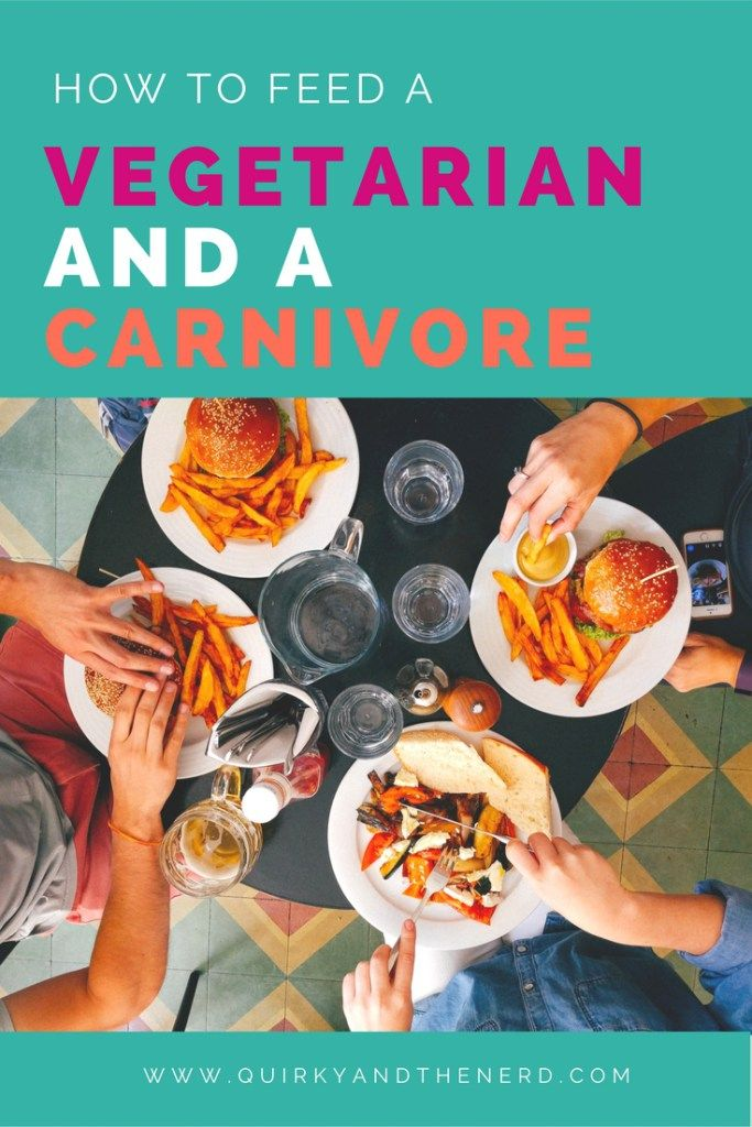 As a vegetarian married to a carnivore, I frequently get asked how we eat together. Here are the really easy ways we are able to eat dinner together every night. quirkyandthenerd.com