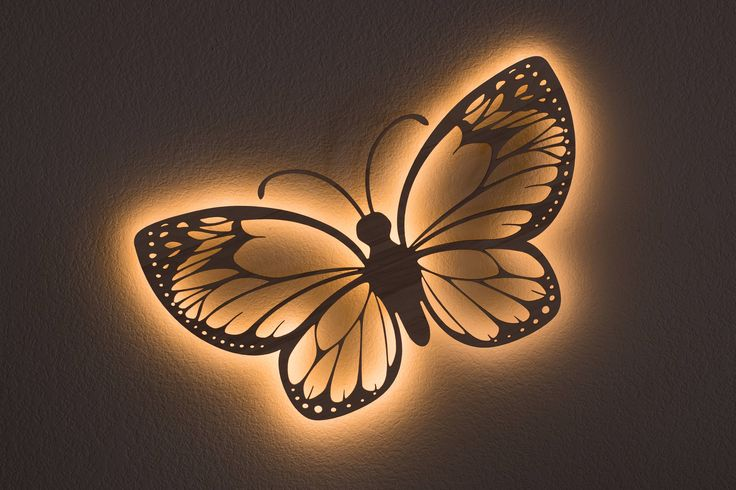 Butterfly Wall Hanging Accent Light Wooden Night Light