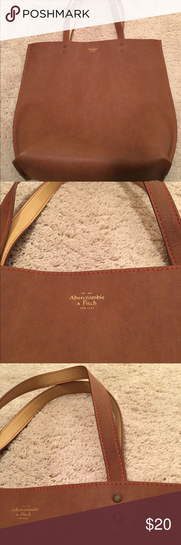 NWOT Abercrombie and fitch faux leather tote Classic faux leather brown tote, Abercrombie and fitch , never used. Abercrombie & Fitch Bags Totes