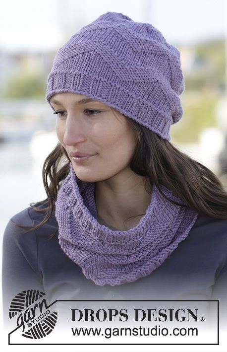 """Set consists of: Knitted DROPS hat and neck warmer with zig-zag pattern in """"Big Merino"""". ~ DROPS Design"""
