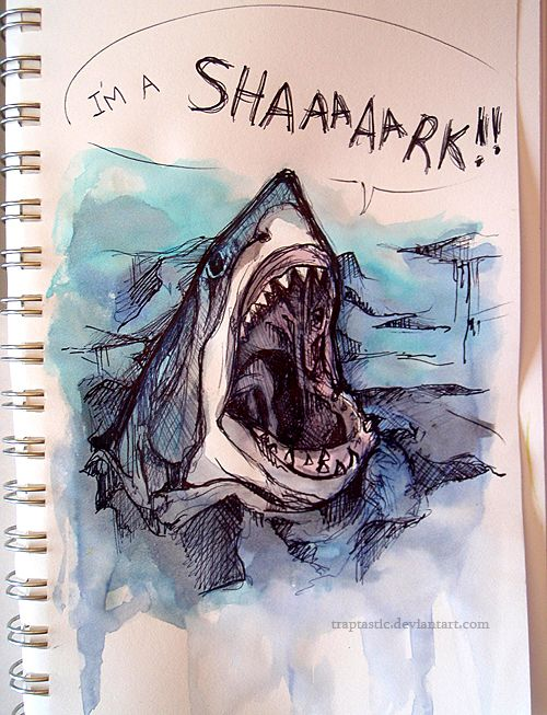 If it didn't have the dialogue bubble it's be so Much better. What a beautiful shark painting