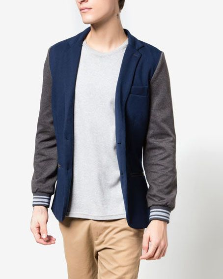 Varsity Blazer by ZALORA. Blazer with Colourblock design and detail a pattern of lines on the arms. Using cotton as material with navy color. Open front blazer with long sleeve. Details button with regular fit size.  http://www.zocko.com/z/JJ4FG