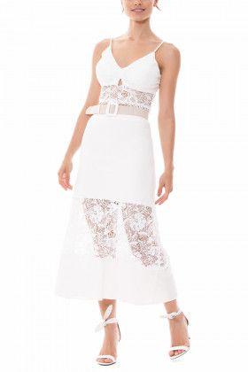 a108043356 Saia midi confeccionada com tecido linho com barrado e cinto com contraste  saia branca