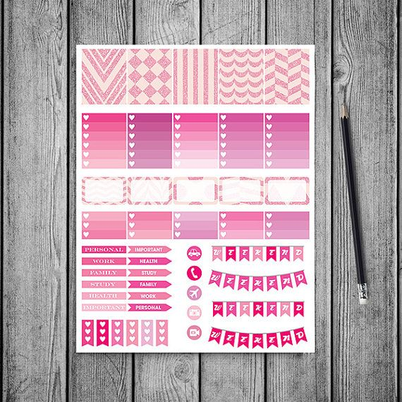 Pink Glitter Planner Stickers -    http://etsy.me/2b9d6bX Pink glitter planner stickers pack is perfect for create handmade planners, stationery, greeting cards, craft items and much more. Fits perfectly for your erin condren vertical life planner and other types of planners like: kikki k, mambi planner, plum planner etc. You may print as many sheets as you would like.