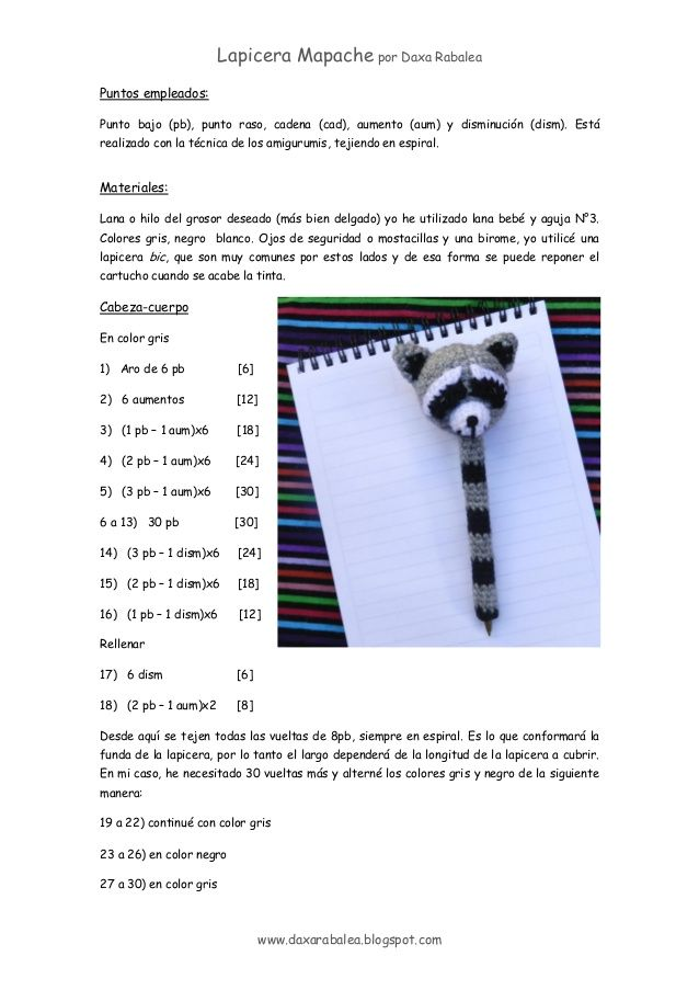 patron cubre Lapicera mapache amigurumi