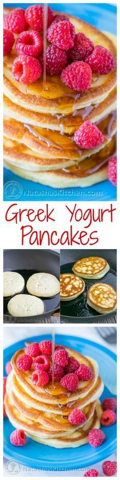 These Greek yogurt pancakes aren't your standard pancakes! They are delicate and crisp on the edges - delicious!| http://natashaskitchen.com