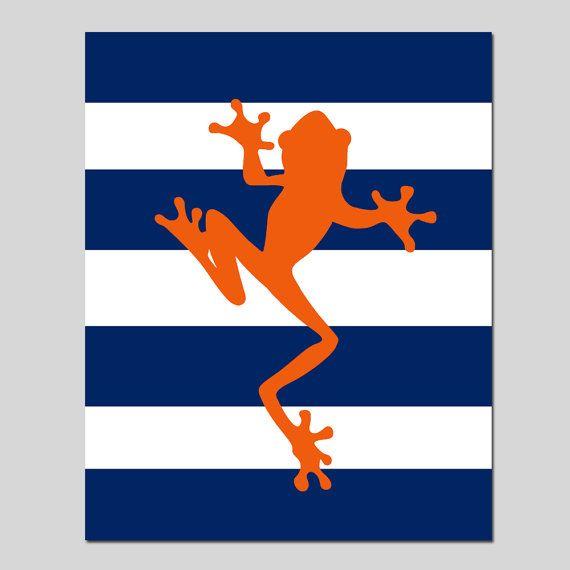 VENTE - Stripe grenouille - 8 x 10 pépinières Art Print - bleu marine et rouge-Orange