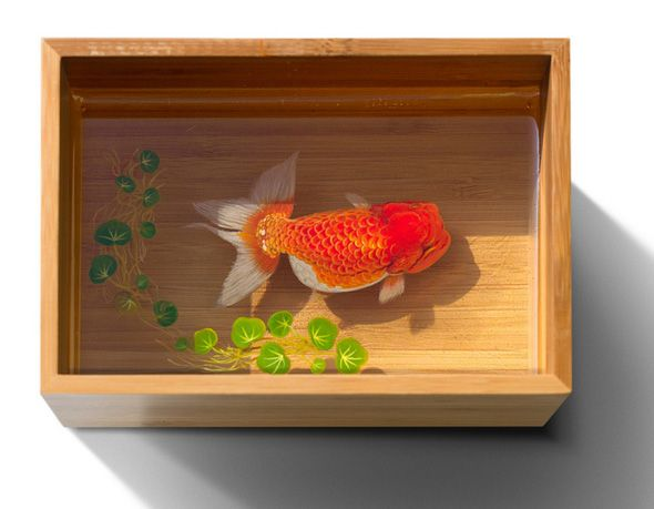 Goldfish Salvation by Riusuke Fukahori : painter on layers of resin - video at this link and book - Alive Without Breath