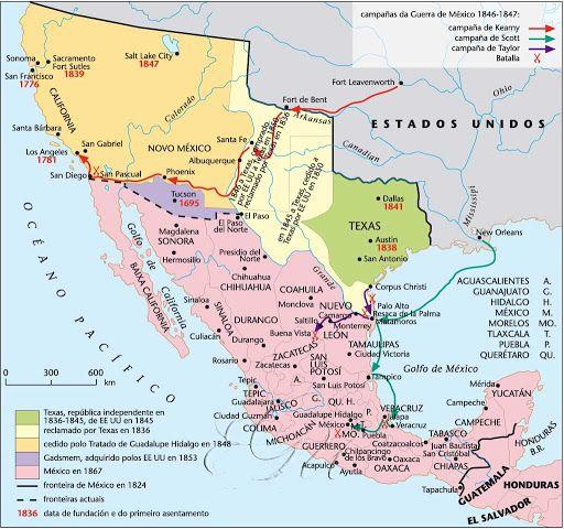 Mapa - La Guerra Mexicano-Estadounidense 1846-1848