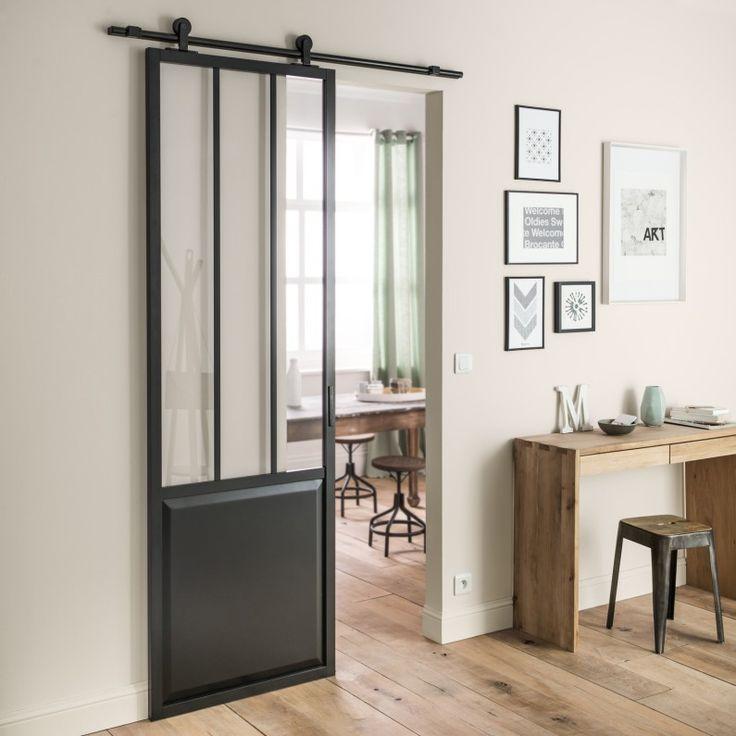 ARTENS Porte coulissante aluminium noir Atelier verre clair ARTENS, H.224 x l.73 cm Leroy Merlin 219 €
