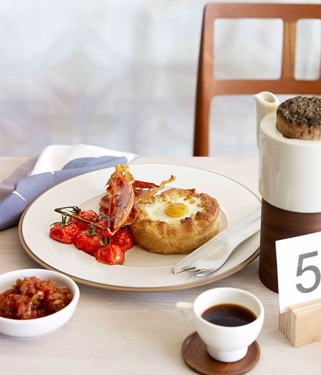 Breakfast pies with tomato chilli jam and crisp speck :: Gourmet Traveller