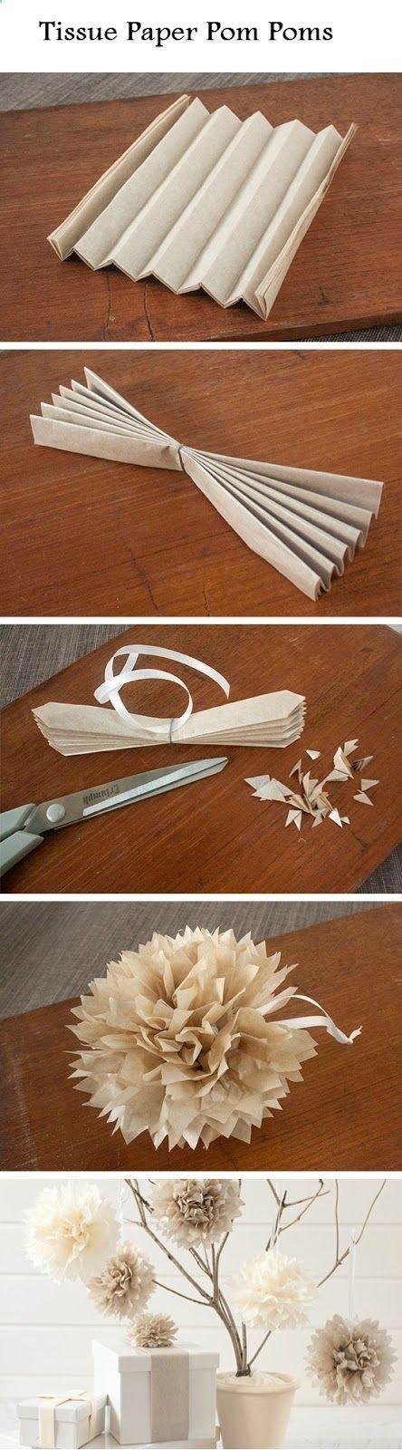Easy Tissue Paper Pom Poms | #Crafts and #DIY Community. #TissuePaper #PomPoms