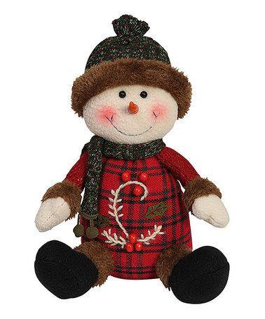 Love this Plaid Sweater Plush Happy Snowman Figurine by GCA International on #zulily! #zulilyfinds
