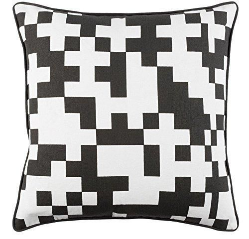 White 18x18 Geometric Throw Pillow Black Square Color Block Chevron Pattern Modern Patterned Theme Cushion Abstract Graphic Novelty Sleek Trendy