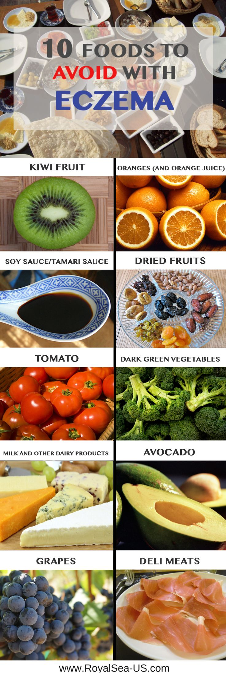10 Foods to Avoid with Eczema. There are certain foods you must avoid out rightly or minimize their intake to lower the risk of eczema. Great eczema diet treatment article. For more information about it click on the pin!