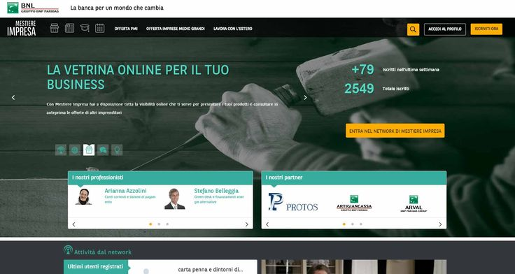 Mestiere Impresa la piattaforma dedicata agli imprenditori di BNL Gruppo BNP Paribas http://www.sapereweb.it/mestiere-impresa-la-piattaforma-dedicata-agli-imprenditori-di-bnl-gruppo-bnp-paribas/        BNL Gruppo BNP Paribas ha ideato e creato una piattaforma dedicata agli imprenditori e alle imprese che vogliono accrescere la propria visibilità sul web e creare nuove occasioni di business scambiandosi informazioni e confrontando le proprie esperienze. Nasce così Mestiere