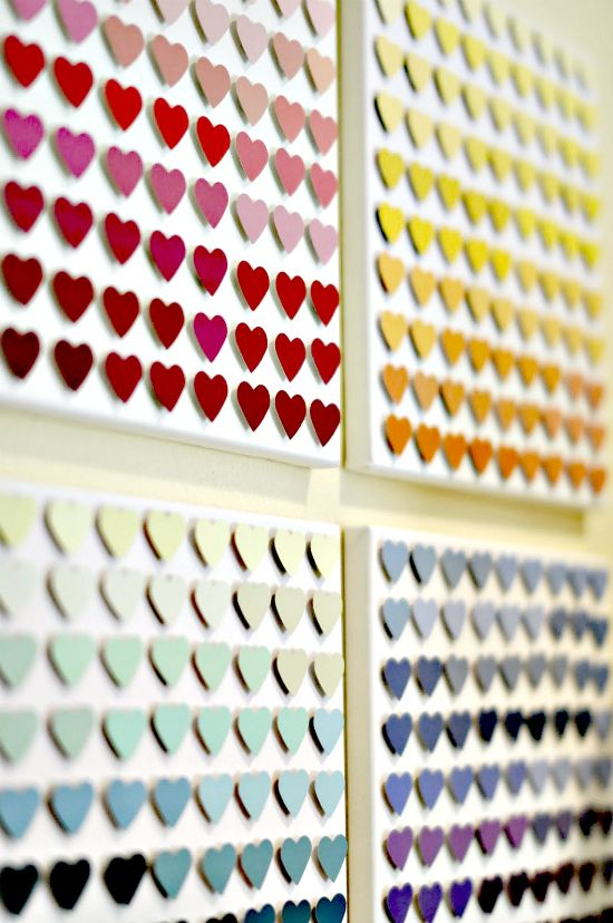 """collect paint sample cards from Lowes....and make some fab art.....Michaels has cut punches in TONS of shapes so, you could take this idea in lost of directions, it said """"paint chips"""" but I am sure these are paint sample cards.."""