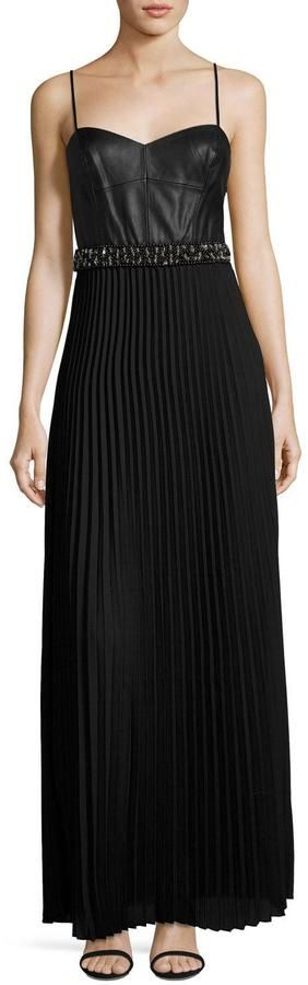 Laundry by Shelli Segal Mixed-Media Pleated Gown, Black