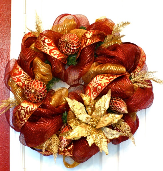 Mom would like this one. Christmas Wreath Holiday Wreath Burgundy and Gold by FestiveTouch, $99.00