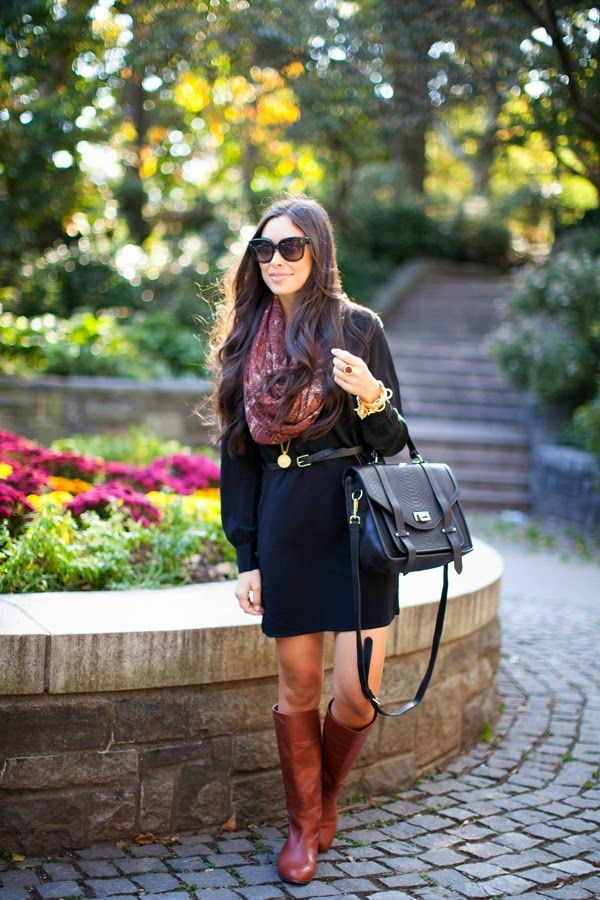 Black dress paired with colored scarf and riding boots. Perfect casual formal fall outfit. Love the whole look.