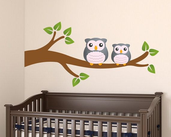 Wall Decals Nursery  Owl Tree Branch Wall by LullaberryDecals