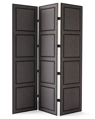 """A classic,"" declares de  Cabrol of the crisply tailored lines. ""It's very chic and reminds me of a Billy Baldwin design."" The glossy nailheads and padded hardwood frame make it well suited for a library or a media room, she says.    Height: 84""; panel width: 24""; extended width: 72""; depth: 2.5""; material: upholstered hardwood with glossy Black Pearl–painted steel nailheads and polyester-fiber fill (custom sizes and other nailheads available); delivery: 6–8 weeks; price: $4,380 c.o.m…"