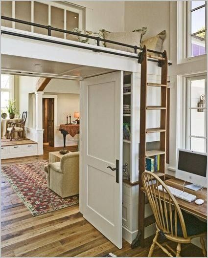 Great space saver, with a small desk by the window, and every kids dream to hide and read:) ( Via Home Beautiful) I love it, what do you think?