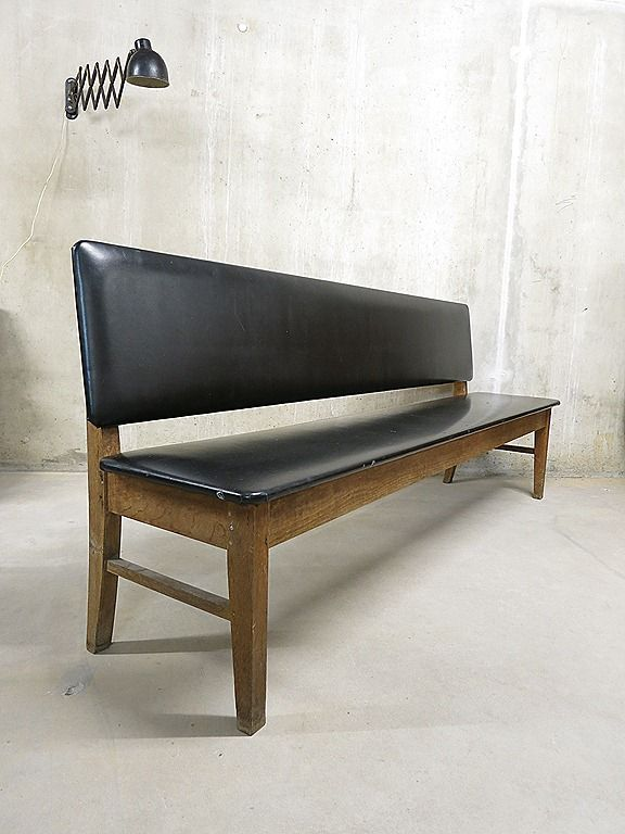 vintage sofa bench danish industrial, vintage bank industrieel wachtkamer bank eetkamertafel bank brocante