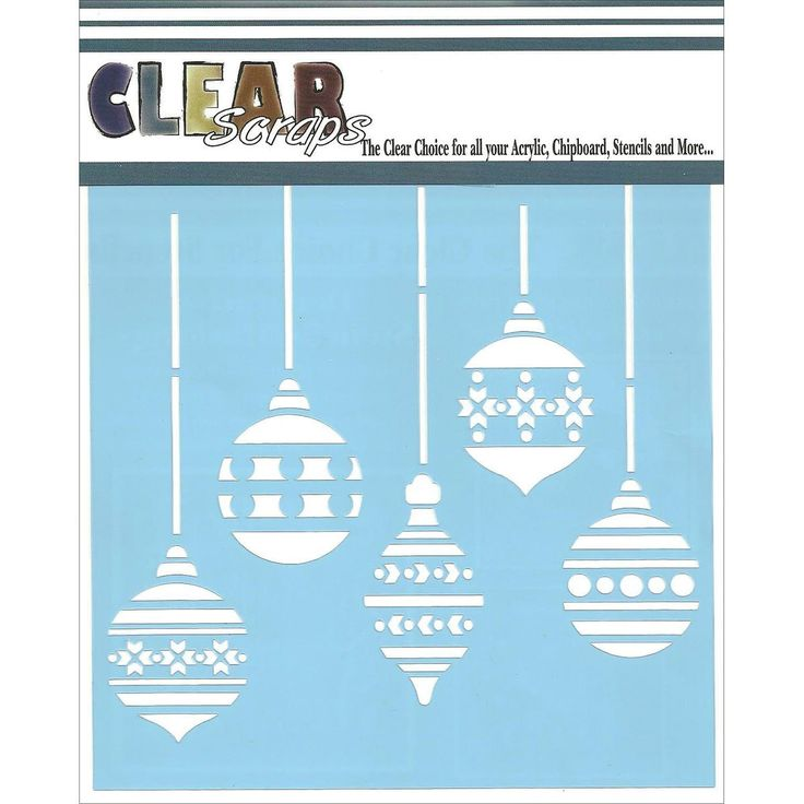 "Amazon.com: Clear Scraps Stencils 6""X6""-Christmas Bulbs: Arts, Crafts & Sewing"