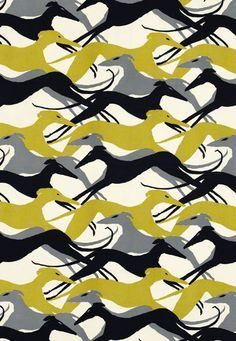"""Diamond Dogs Schumacher Fabric / """"Sleek greyhounds become a graphic element in this design adapted from a 1950's hand print"""""""