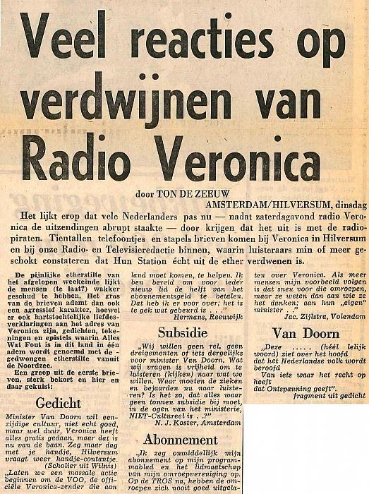 19740903 Telegraaf Reacties op verdw Veronica