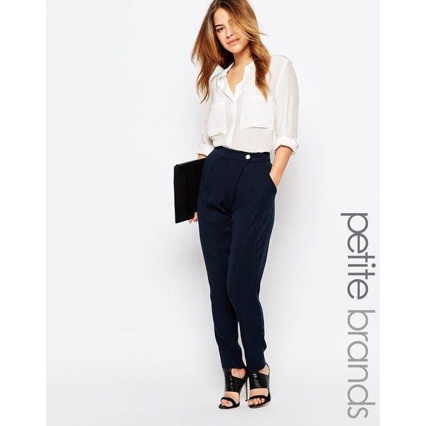 Vero Moda Petite Straight Peg Pant (€43) ❤ liked on Polyvore featuring pants, navy, petite, white pants, navy blue pants, petite pants, high-waisted trousers and zipper pocket pants