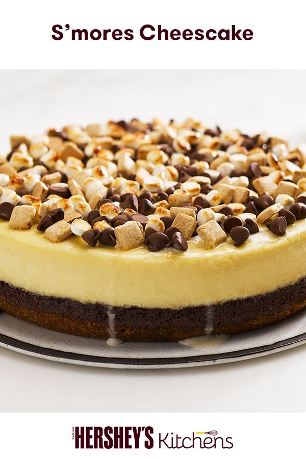 Just cause it's fall doesn't mean you have to say goodbye to S'mores! Try this S'mores Pieces Cheesecake. Made with HERSHEY'S S'mores Baking Pieces for an unforgettable S'mores taste in every bite.