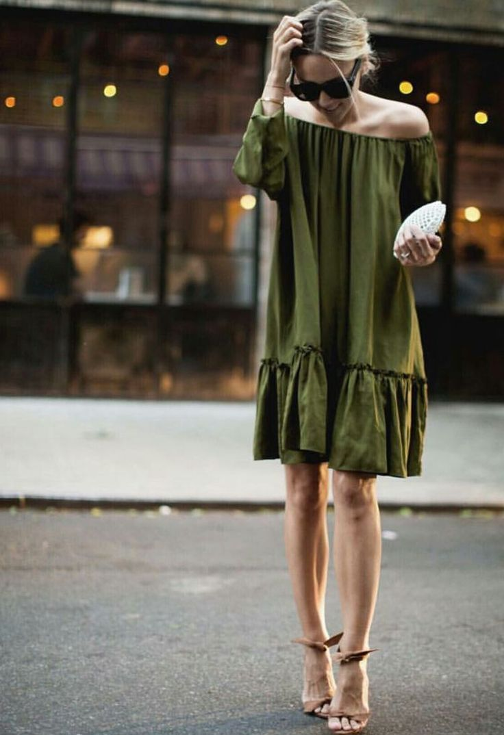 Gorgeous olive green drop waist dress... Love it with heels